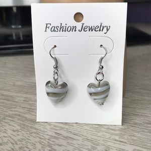 Beautiful gray glass heart earrings